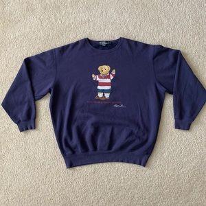 Polo Ralph Lauren Bear Logo Sweatshirt Sz XL Blue